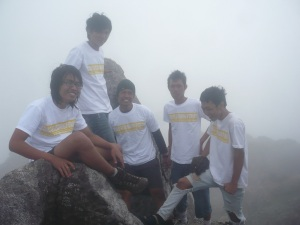 77. Finally we are standing up straight at the peak of mount marbabu and merapi.